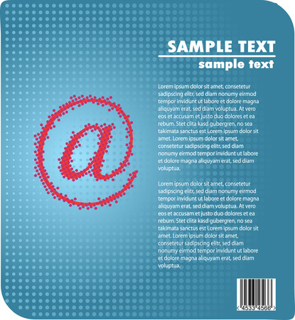 e-Business ad design - red at sign against blue gradient halftone background Vector