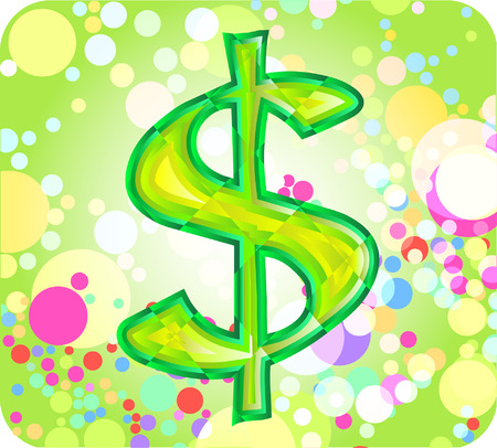 currency glitter: dollar sign against colorful background