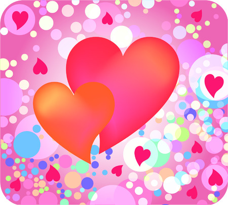 two hearts against colorful background Vector