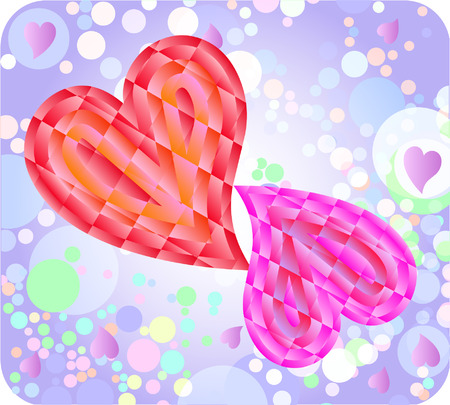 two hearts against colorful background Stock Vector - 4171989