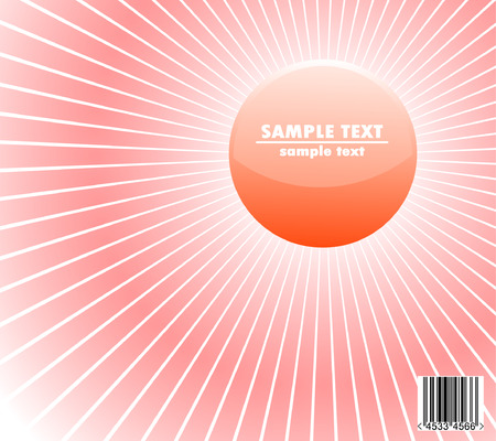 red glossy sphere with sunburst rays Vector