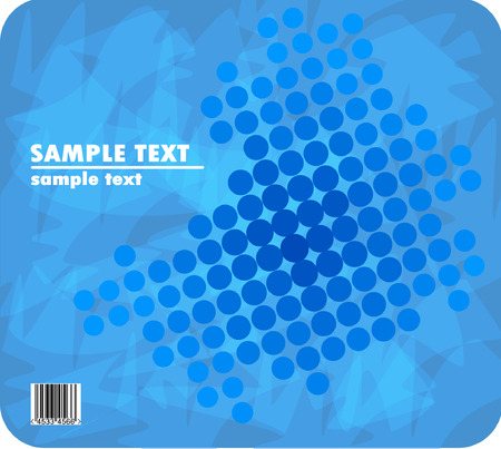 blue halftone design with barcode Vector