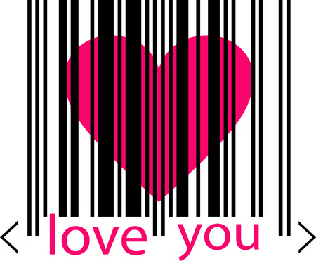 ean: emo love concept - pink heart marked by barcode Illustration