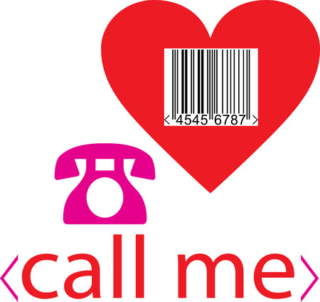 call me - emo love concept - pink heart marked by barcode Vector