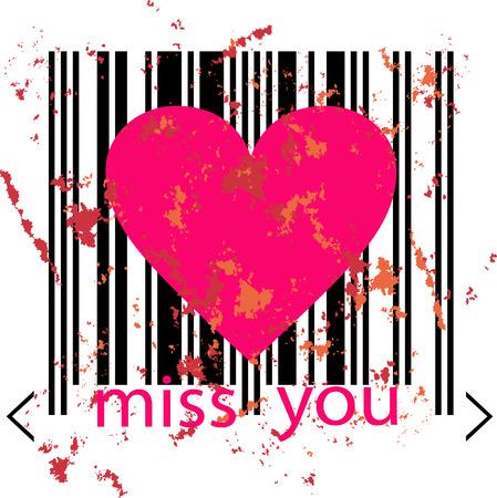 emo: emo love concept - roze hart gekenmerkt door barcode Stock Illustratie