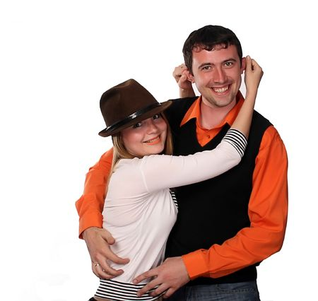 couple having fun , pretty blonde and handsome young dark haired man Stock Photo - 4264953