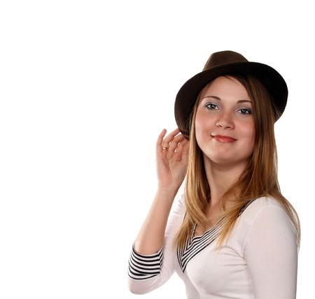 pretty blonde in broun hat with cat like green eyes, cowgirl from Texas photo