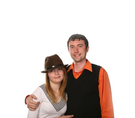 young loving teen couple embracing photo