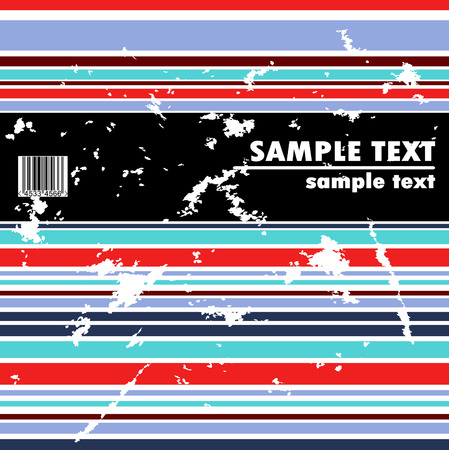 Grungy bended vector design of stripes with barcode Vector