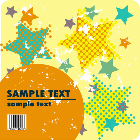 Grungy vector design of stars with barcode Stock Vector - 4356505