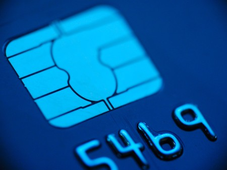 Credit card macro in blue with wignette photo