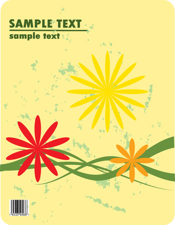 obsolete floral vector design of bended stripes and flowers Vector