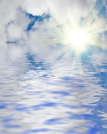 Blue sky and water background photo
