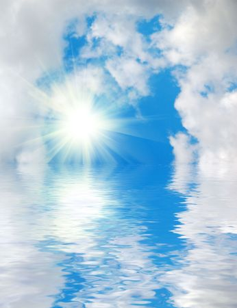 cloud scape: Blue sky and water background