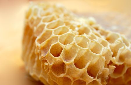 macro of pice of honeycells  photo