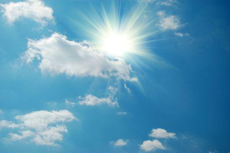 blue sky and sun photo
