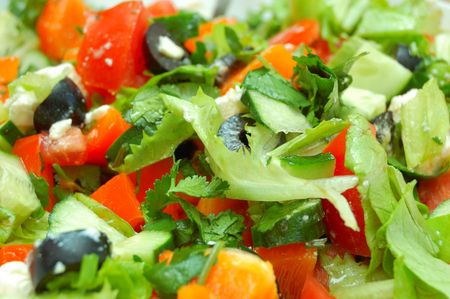 classic vegetable italian salad - cheese, tomatos, pepper, greenery photo