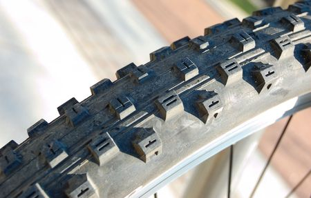 Bicycle tyre tread close-up photo