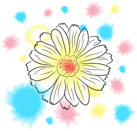watercolor  flower and colorful blobs Stock Photo - 5250982
