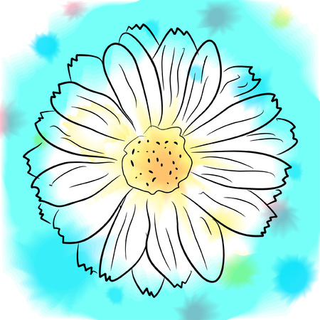 vector watercolor  flower and colorful blobs Vector