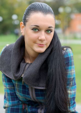 russian pretty long haired green-eyed  brunette Stock Photo - 5669530
