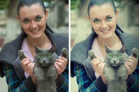 pretty brunette female portrate with cat photo