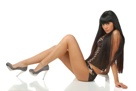 pretty black hair girl in black underwear isolated on white Stock Photo