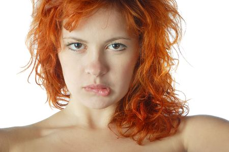 face of red-haired pretty girl photo