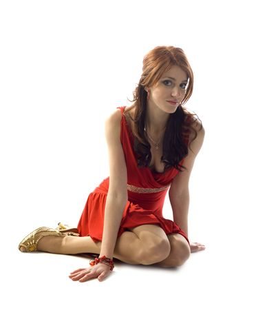 cute young pretty girl in red dress with gold belt Stock Photo - 6437147