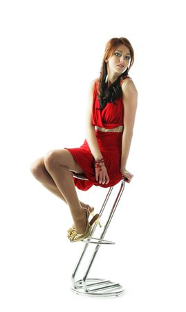 cute young pretty girl in red dress with gold belt Stock Photo - 6437197