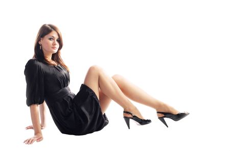 cute young pretty girl in stylish black dress photo