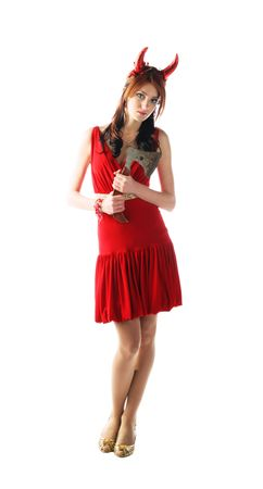 devil-woman - cute young pretty girl in red dress with red horns photo