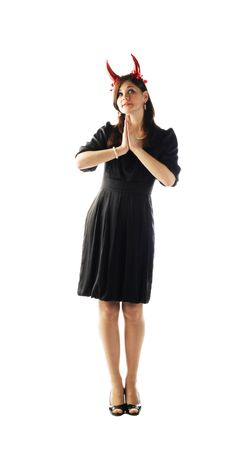 devil-woman - cute young pretty girl in black dress with red horns Stock Photo - 6466444