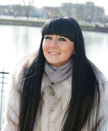 pretty girl in expensive fur coat Stock Photo - 6515856