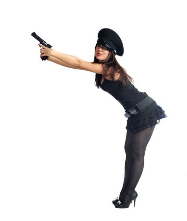 Sexy woman in police uniform with hand gun on white Stock Photo - 6622910
