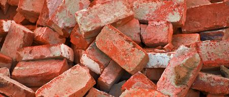 bg of heap of red bricks photo