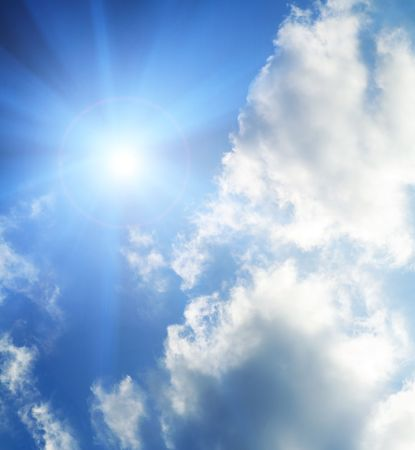 Sun in the sky covered with clouds photo