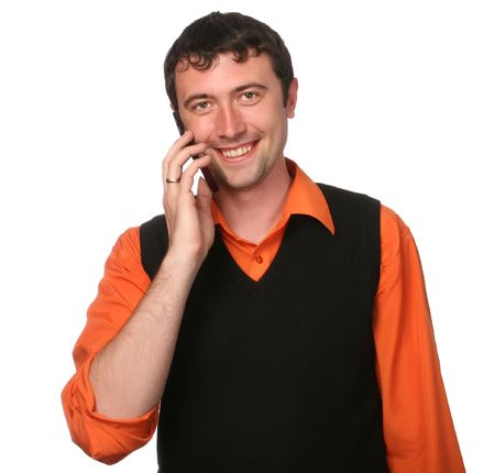 men with cell phone in orange shirt isolated Stock Photo - 6723322