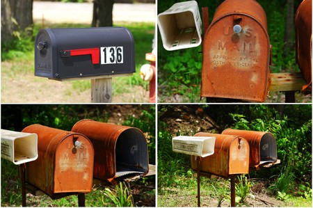 Old vintage mailboxes in rural Midwest United States   photo