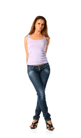 sexy blonde in jeans and tank top isolated on white background Stock Photo - 7015499