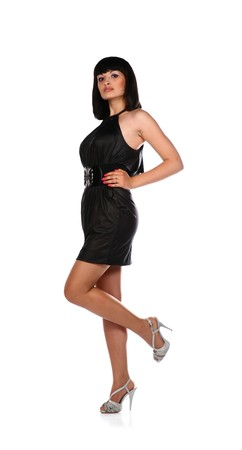 young black haired girl wearing a black dress isolated on white Stock Photo - 7110187