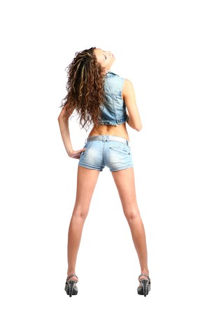 sexy brunette in jeans wear photo