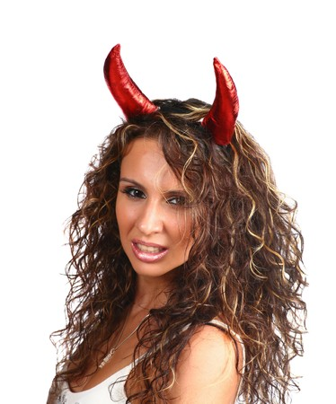 sexy brunette with horns photo