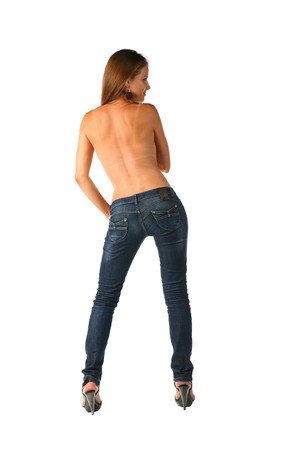 sexy brunette in jeans photo
