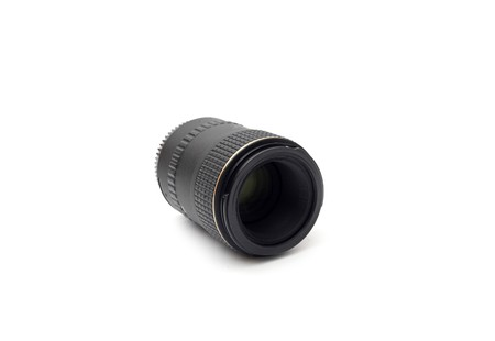 black telephoto lens for SLR isolated on the white background photo
