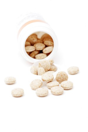 heap of pills isolated on the white background photo
