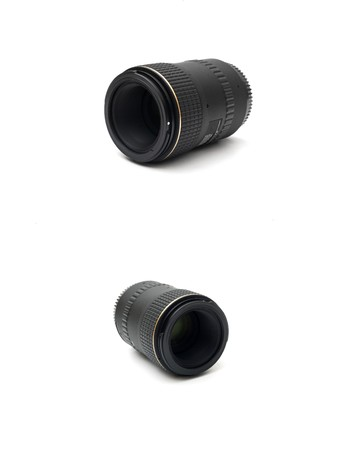 two black telephoto lens for SLR isolated on the white background photo
