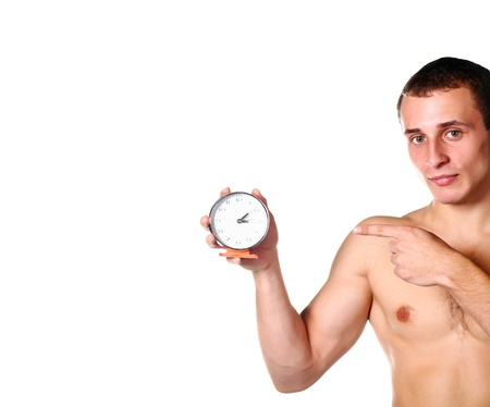 handsome guy shirtless with clock photo