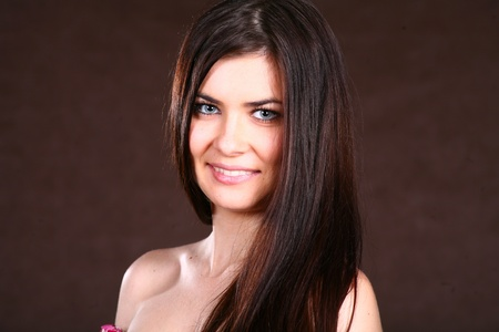 Brunette Woman With Healthy Hairs photo