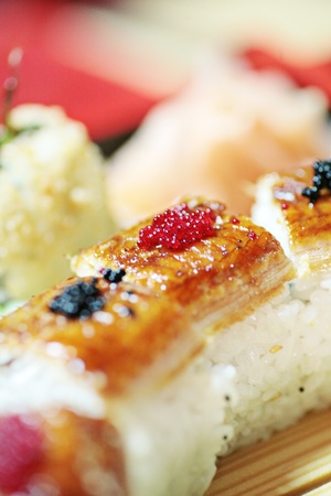 california roll: Japanese sushi. Close up of the healthy food Stock Photo